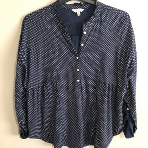 Med. Lucky Brand Blue And White Blouse